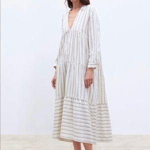 Zara Boho Tiered Striped Long Sleeve Tunic Dress